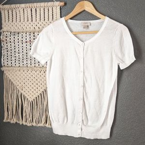 LOFT Short Sleeve White Cardigan Sweater